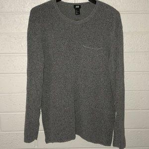 Men's long sleeve heathered grey sweater